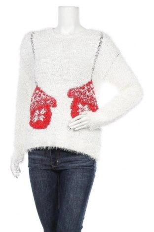Дамски пуловер F&F, Размер L, Цвят Бял, 90% полиестер, 7% акрил, 2% полиамид, 1% метални нишки, Цена 31,19лв.