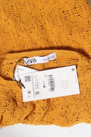 Дамски пуловер Zara, Размер S, Цвят Жълт, 48% акрил, 48% памук, 4% еластан, Цена 24,15лв.