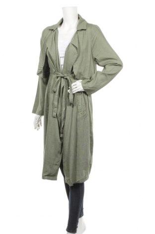 Дамски шлифер Indikah, Размер S, Цвят Зелен, Лен, Цена 40,32лв.