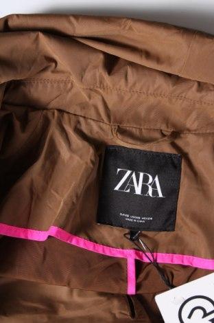Дамски шлифер Zara, Размер XS, Цвят Кафяв, 100% полиестер, Цена 66,75лв.