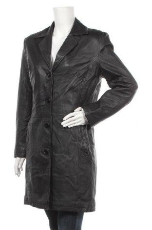 Дамско кожено палто, Размер L, Цвят Черен, Естествена кожа, Цена 23,36лв.