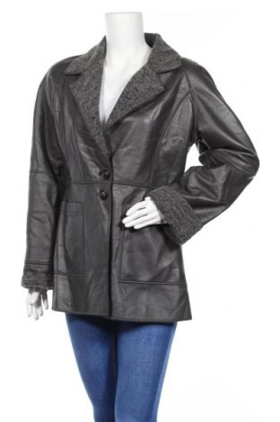 Дамско кожено палто, Размер M, Цвят Сив, Еко кожа, Цена 21,42лв.