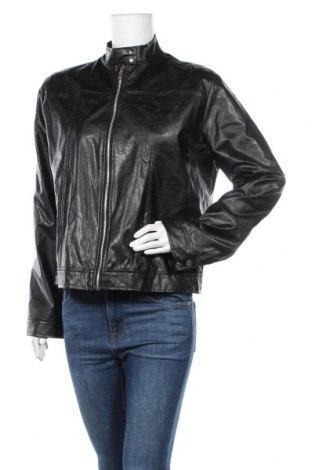 Дамско кожено яке, Размер XL, Цвят Черен, Еко кожа, Цена 24,57лв.