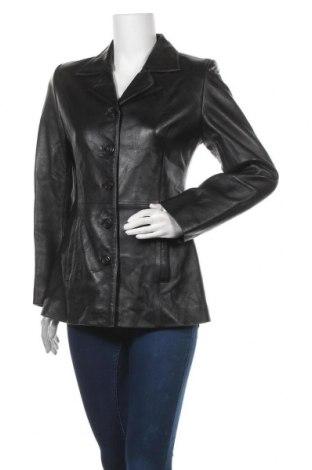 Дамско кожено яке, Размер M, Цвят Черен, Естествена кожа, Цена 32,60лв.