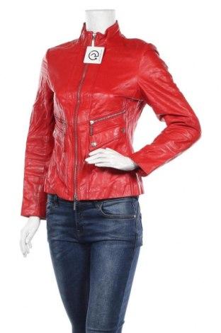 Дамско кожено яке, Размер M, Цвят Червен, Естествена кожа, Цена 85,79лв.