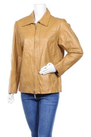 Дамско кожено яке, Размер L, Цвят Бежов, Естествена кожа, Цена 18,64лв.