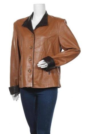 Дамско кожено яке, Размер XL, Цвят Кафяв, Естествена кожа, Цена 68,83лв.