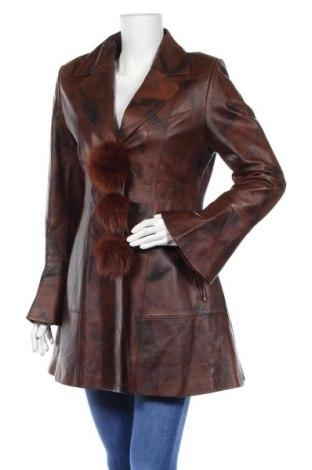 Дамско кожено яке, Размер XL, Цвят Кафяв, Естествена кожа, естествен косъм, Цена 93,45лв.