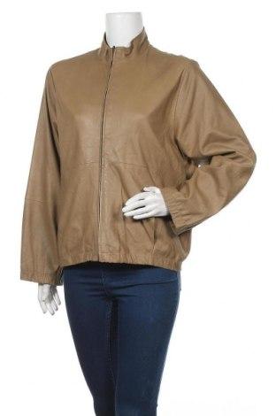 Дамско кожено яке, Размер L, Цвят Бежов, Естествена кожа, Цена 32,13лв.