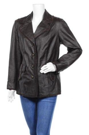 Дамско кожено яке, Размер L, Цвят Кафяв, Естествена кожа, Цена 20,48лв.