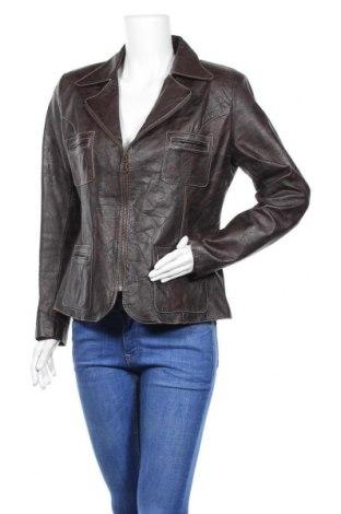 Дамско кожено яке, Размер XL, Цвят Кафяв, Естествена кожа, Цена 42,34лв.