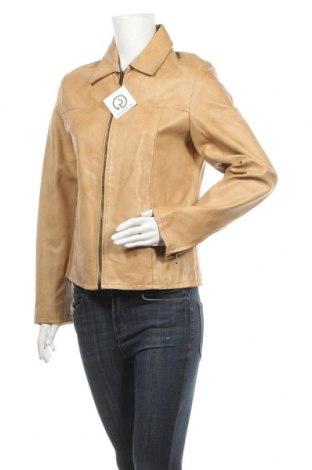 Дамско кожено яке, Размер L, Цвят Бежов, Естествена кожа, Цена 39,69лв.