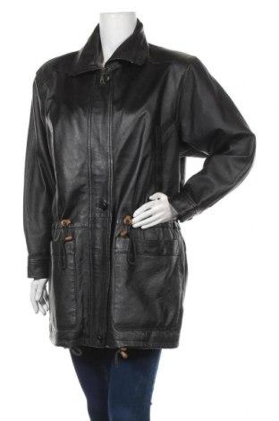 Дамско кожено яке, Размер XL, Цвят Черен, Естествена кожа, Цена 46,62лв.
