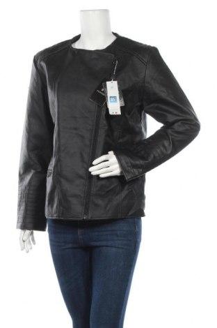 Дамско кожено яке, Размер L, Цвят Черен, Еко кожа, Цена 32,76лв.