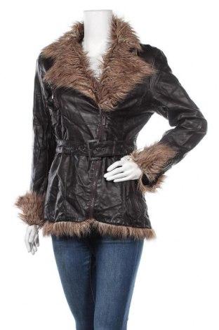 Дамско кожено яке Amisu, Размер L, Цвят Кафяв, Еко кожа, Цена 21,74лв.
