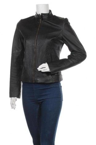 Дамско кожено яке Amisu, Размер M, Цвят Черен, Естествена кожа, Цена 79,80лв.