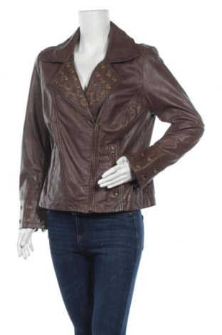 Дамско кожено яке Amy Vermont, Размер L, Цвят Кафяв, Естествена кожа, Цена 36,38лв.