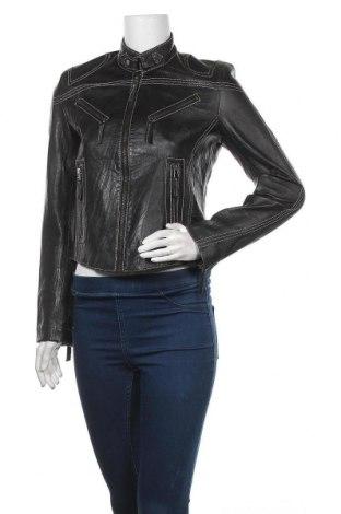 Дамско кожено яке C.A.R.O, Размер M, Цвят Черен, Естествена кожа, Цена 57,12лв.