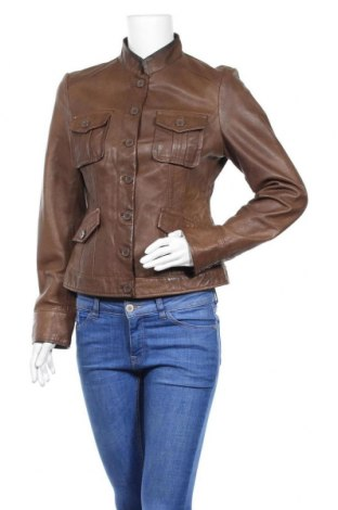 Дамско кожено яке Hallhuber, Размер M, Цвят Кафяв, Естествена кожа, Цена 71,93лв.