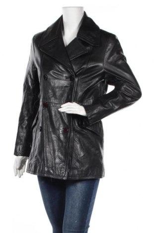 Γυναικείο δερμάτινο μπουφάν Kiabi, Μέγεθος M, Χρώμα Μαύρο, Γνήσιο δέρμα, Τιμή 20,91€