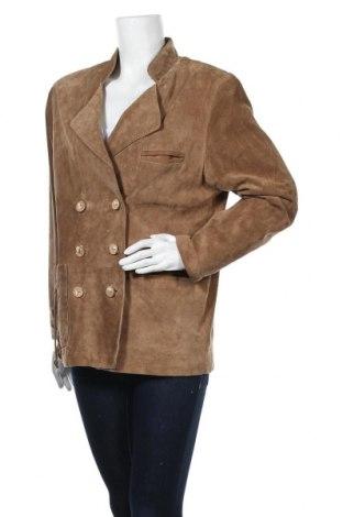 Дамско кожено яке Land Haus, Размер L, Цвят Бежов, Естествен велур, Цена 26,46лв.