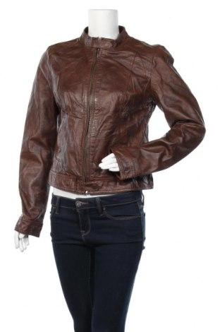 Дамско кожено яке ONLY, Размер L, Цвят Кафяв, Естествена кожа, Цена 125,69лв.