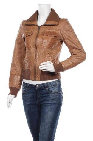 Дамско кожено яке ONLY, Размер S, Цвят Кафяв, Естествена кожа, Цена 35,91лв.