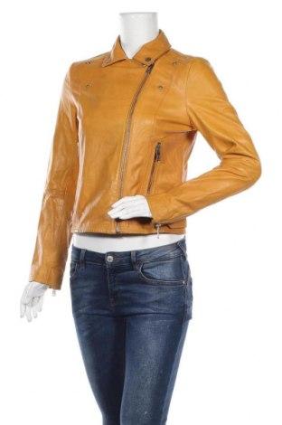 Γυναικείο δερμάτινο μπουφάν Pepe Jeans, Μέγεθος M, Χρώμα Κίτρινο, Γνήσιο δέρμα, Τιμή 96,12€