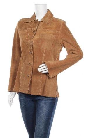Дамско кожено яке TCM, Размер M, Цвят Бежов, Естествен велур, Цена 26,09лв.