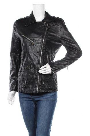 Дамско кожено яке Vg, Размер M, Цвят Черен, Еко кожа, Цена 22,52лв.