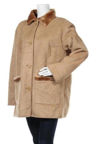 Дамско палто, Размер XL, Цвят Бежов, 63% акрил, 37% полиестер, Цена 13,65лв.