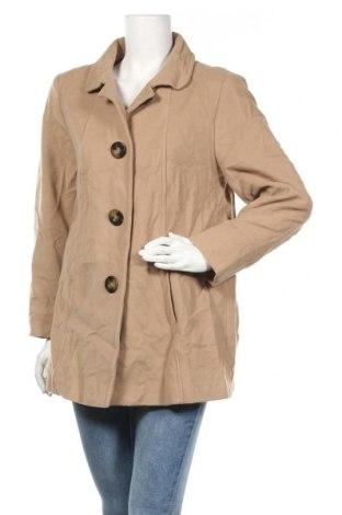 Дамско палто, Размер M, Цвят Бежов, 72% полиакрил, 13% памук, 8% полиестер, 7% вискоза, Цена 12,60лв.