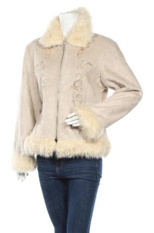 Дамско палто, Размер L, Цвят Екрю, 50% акрил, 50% полиестер, Цена 12,08лв.