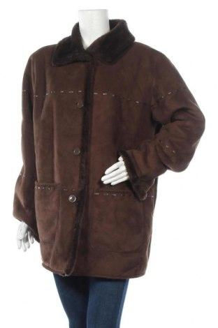 Дамско палто, Размер L, Цвят Кафяв, 37% полиестер, 63% полиестер, Цена 10,92лв.