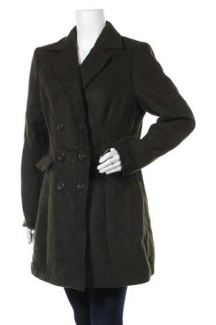 Дамско палто, Размер L, Цвят Зелен, 35% вълна, 45% полиестер, 15% други материали, 5% полиамид, Цена 24,36лв.