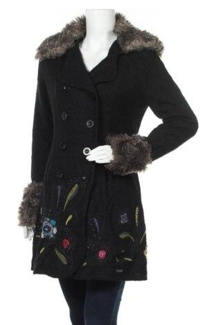 Дамско палто Desigual, Размер M, Цвят Черен, 56% вискоза, 37% вълна, 6% акрил, 1% полиестер, Цена 132,30лв.