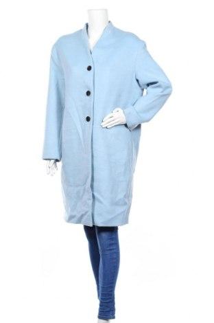 Дамско палто H&M, Размер L, Цвят Син, 50% вълна, 50% полиестер, Цена 64,05лв.