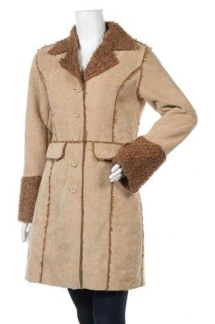 Дамско палто Idpdt, Размер M, Цвят Бежов, 60% полиестер, 40% полиакрил, Цена 20,58лв.