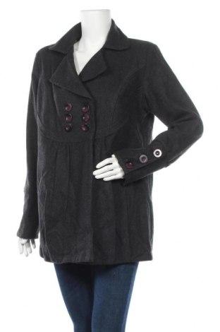 Дамско палто Ishka, Размер XL, Цвят Сив, 70% вълна, 30% акрил, Цена 17,64лв.