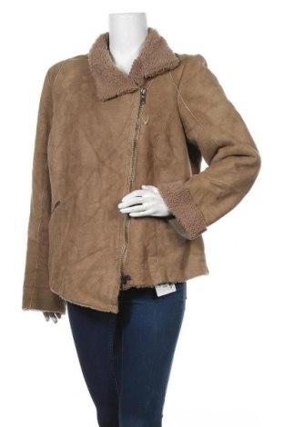 Дамско кожено палто Marina Rinaldi, Размер XXL, Цвят Кафяв, 50% акрил, 50% вълна, естествена кожа, Цена 212,94лв.