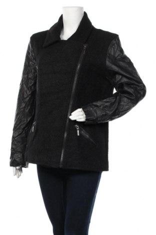 Дамско палто Sequel, Размер XL, Цвят Черен, 45% вълна, 35% полиестер, 20% вискоза, еко кожа, Цена 32,34лв.
