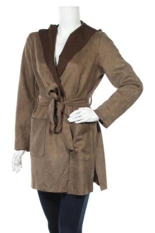 Дамско палто Zara, Размер S, Цвят Зелен, 92% полиестер, 8% еластан, Цена 31,15лв.
