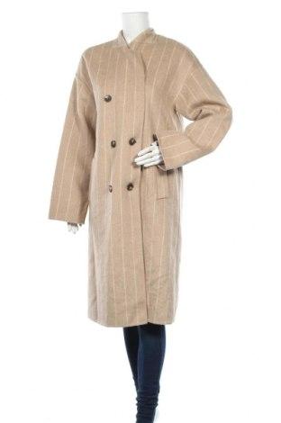Дамско палто Zara, Размер S, Цвят Бежов, 53% вълна, 44% полиестер, 3% други тъкани, Цена 41,72лв.