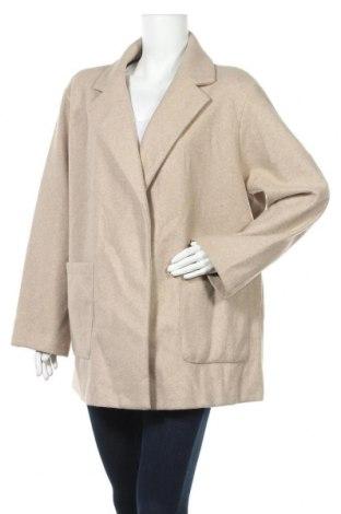 Дамско палто Zara, Размер XL, Цвят Бежов, Полиестер, Цена 74,25лв.