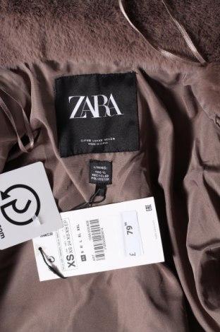 Дамско палто Zara, Размер XS, Цвят Сив, Полиестер, Цена 111,75лв.