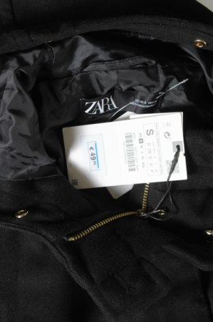 Дамско палто Zara, Размер S, Цвят Черен, 60% акрил, 40% полиестер, Цена 26,82лв.