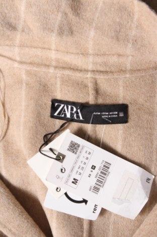 Дамско палто Zara, Размер M, Цвят Бежов, 53% вълна, 44% полиестер, 3% други тъкани, Цена 35,88лв.