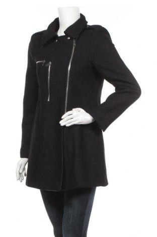 Дамско палто Zara, Размер L, Цвят Черен, 75% вълна, 25% полиамид, Цена 54,18лв.