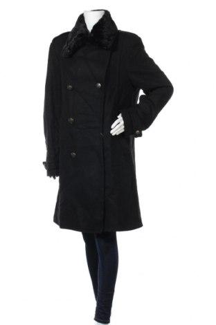 Дамско палто Zara, Размер XL, Цвят Черен, 77% вълна, 22% полиамид, 1% други тъкани, Цена 166,95лв.