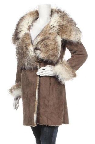 Дамско палто Zara, Размер M, Цвят Кафяв, 85% полиестер, 15% акрил, Цена 70,56лв.